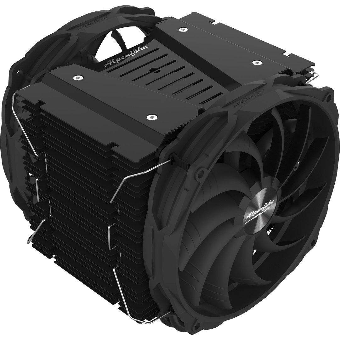 Alpenföhn Brocken 3 Black Edition: Schwarzer Tower-Kühler mit zwei 140-mm-Lüftern
