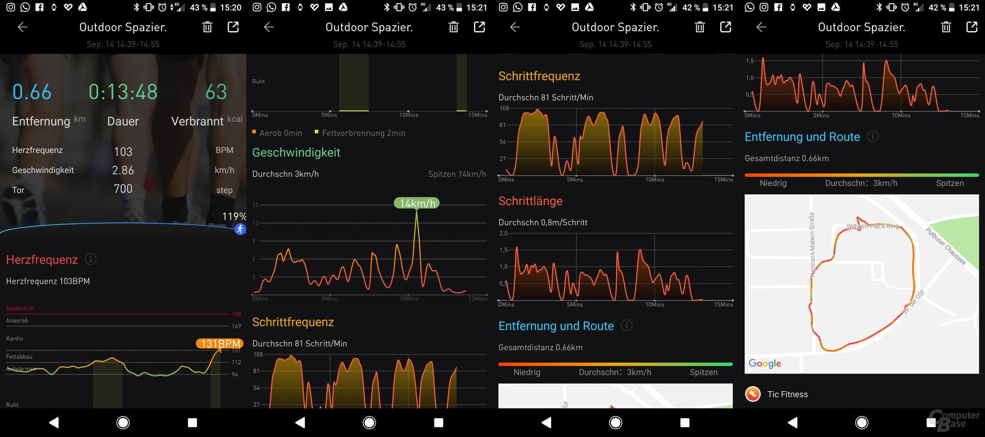 Mobvoi TicWatch Pro: Aktivitätsübersicht App