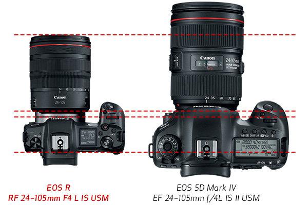 Canon EOS R im Größenvergleich zur EOS 5D Mark IV
