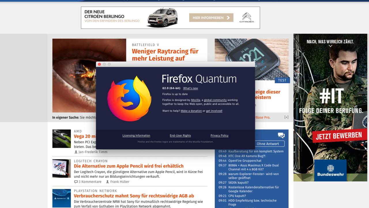 Browser: Firefox 62 mit optimiertem Rendering auf älteren PCs