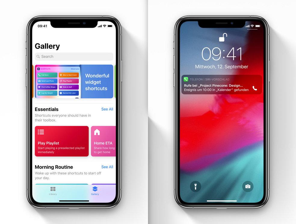 Siri Shortcuts App und Kurzbefehl auf dem Sperrbildschirm