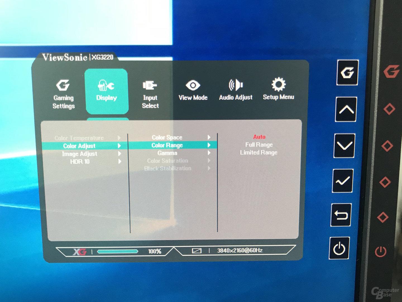 ViewSonic XG3220 – schlecht bedienbares OSD