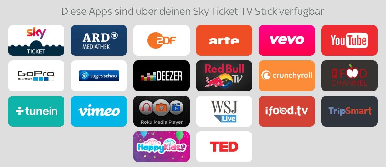 Die auf dem Sky Ticket TV Stick verfügbaren Inhalte