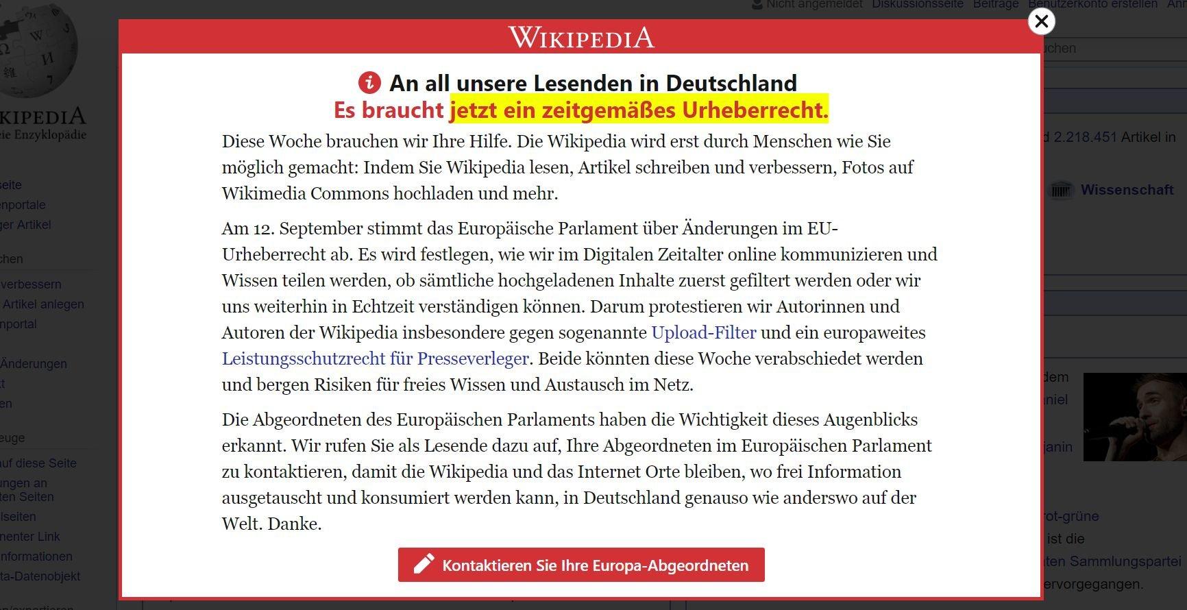 Wikipedia: Warnung vor Upload-Filtern