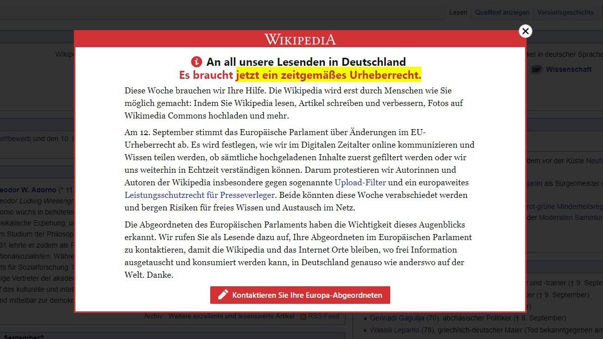 EU-Urheberrechtsreform: Wikipedia warnt vor Upload-Filtern