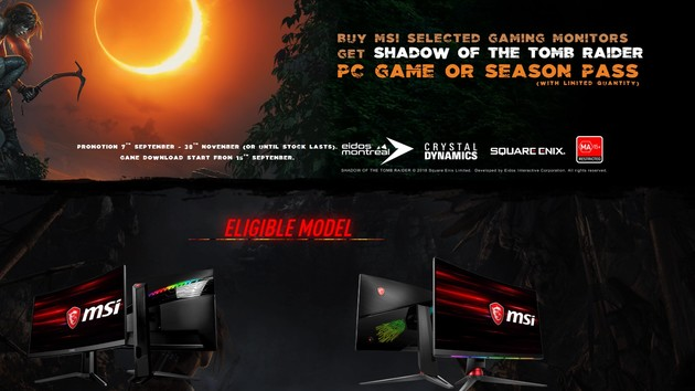 MSI-Gaming-Monitore: Shadow of the Tomb Raider als Gratisbeilage