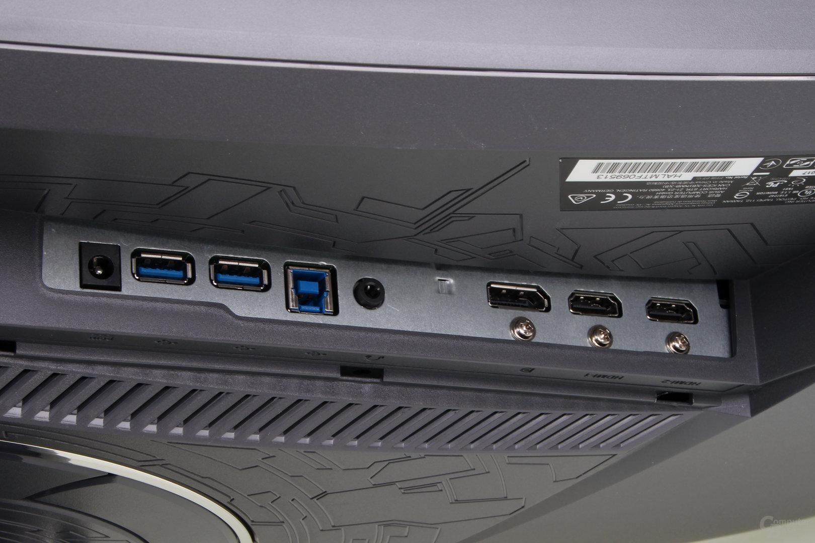 Asus ROG Strix XG35VQ – Von unten zugängliche Anschlüsse