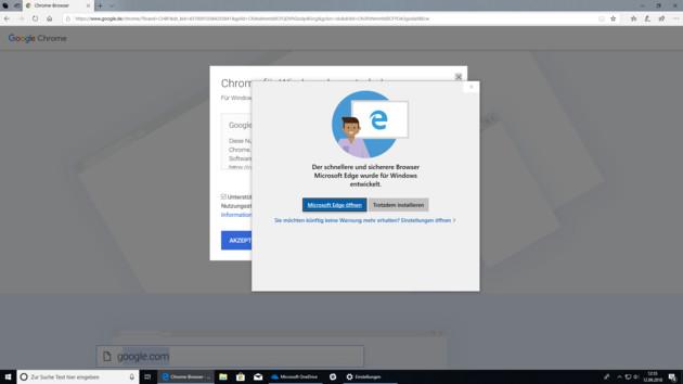 Windows 10 Redstone 5: Microsoft fängt Chrome- und Firefox-Installation ab