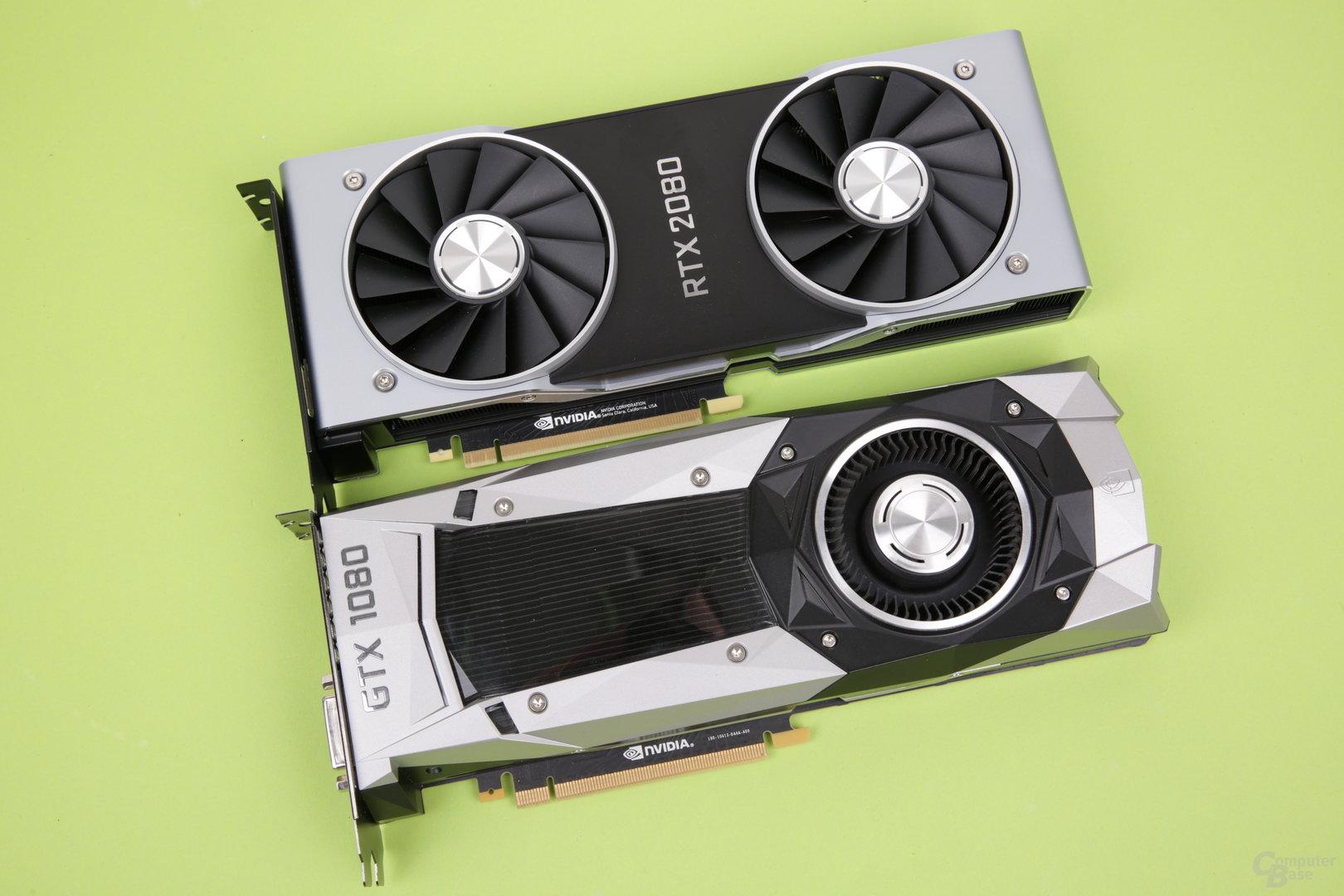 GeForce RTX 2080 (oben) vs. GeForce GTX 1080 (unten)