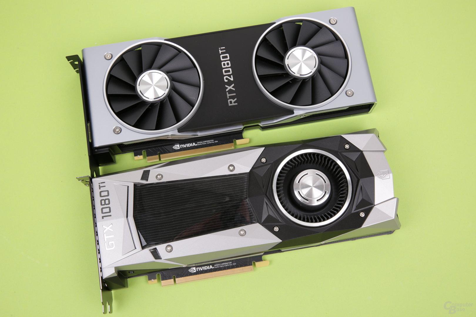 GeForce RTX 2080 Ti (oben) vs. GeForce GTX 1080 Ti (unten)