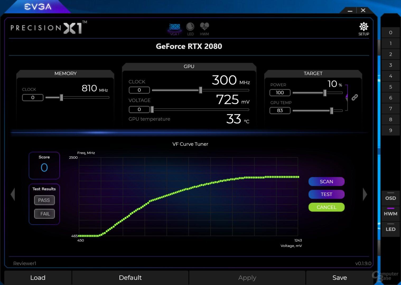 GeForce RTX 2080 – OC Scanner ohne Optimierung