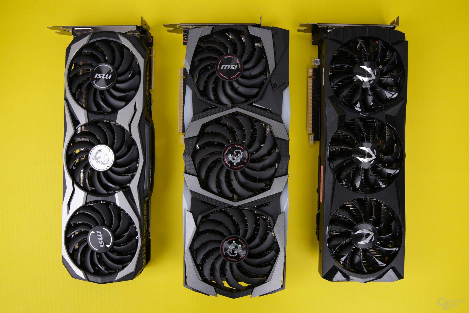 MSI GeForce RTX 2080 Ti Duke, GeForce RTX 2080 Gaming X Trio ud Zotac GeForce RTX 2080 AMP! (v.l.n.r.)