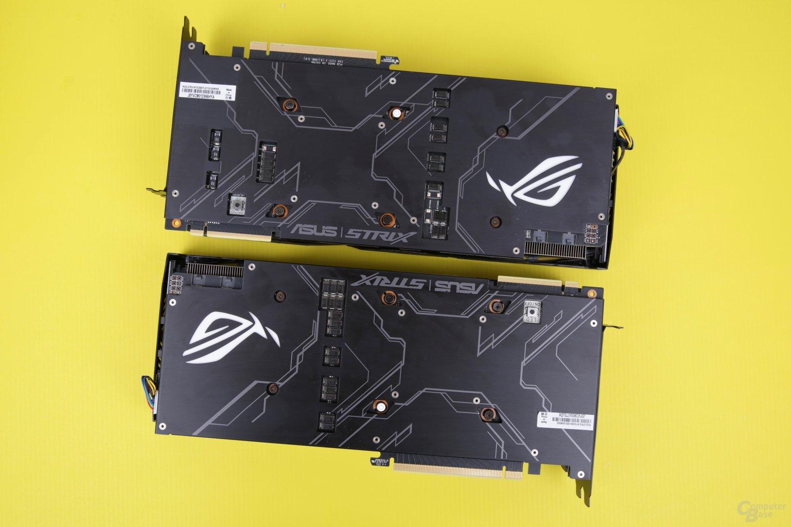 Asus GeForce RTX 2080 Strix OC: Ti oben, None-Ti unten