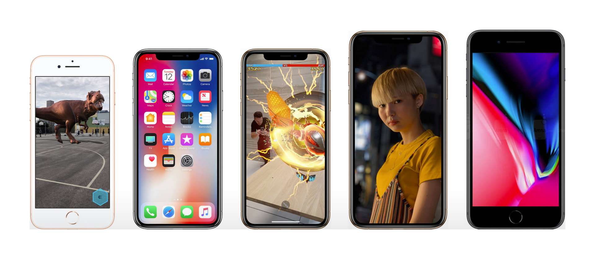 iPhone 8, X, Xs, Xs Max und 8 Plus im Größenvergleich