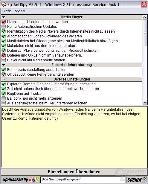 XP-Antispy in der neuen Version 3.91