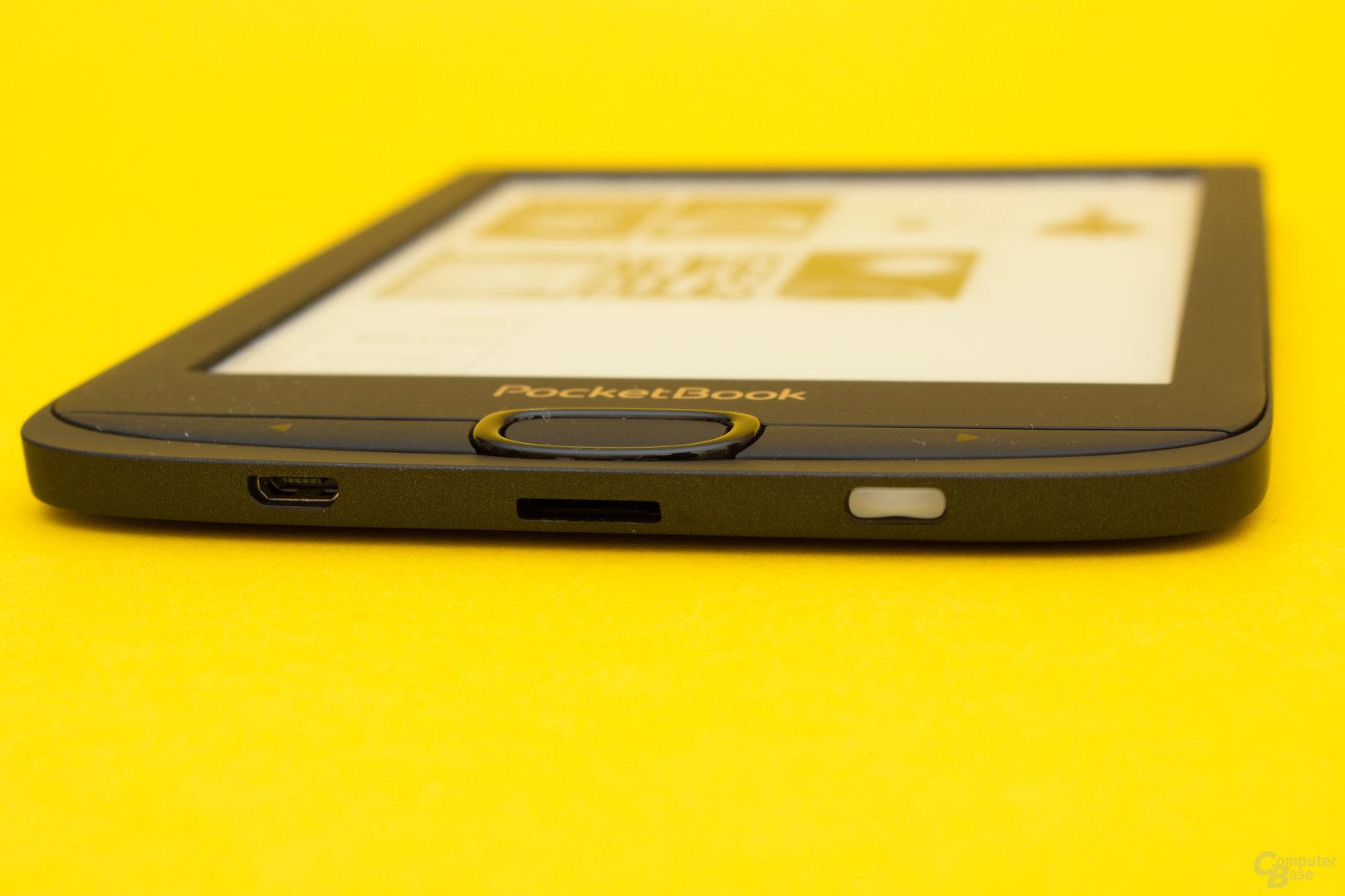 USB-Anschluss, Kartenslot sowie Ein-/Ausschalter