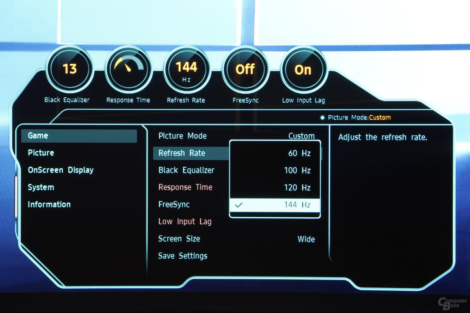 Samsung C49HG90 im Test – OSD