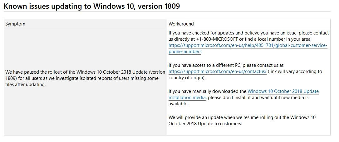 Microsoft pausiert das Oktober 2018 Update
