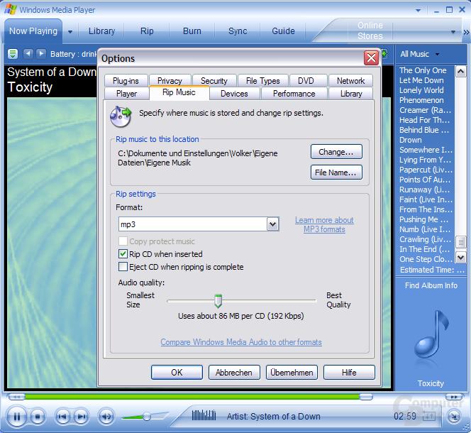 MP3s rippen