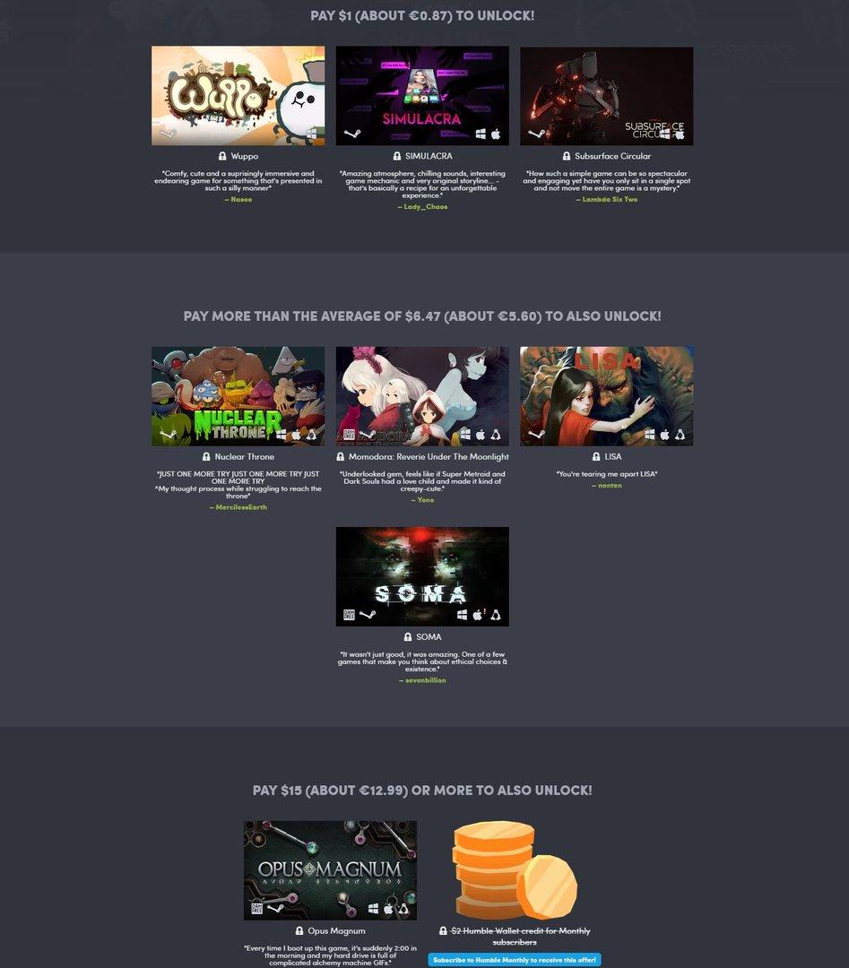 """Das """"Äußert-Positiv-Bundle"""" vereint Indie-Spiele"""