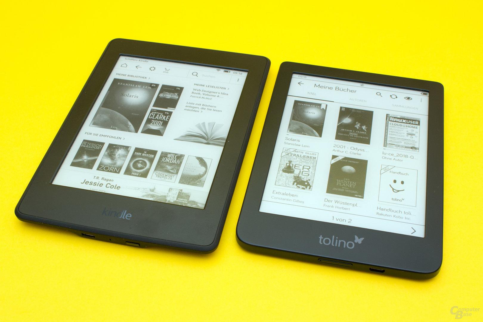 GrößenvergleichTolino Shine 3 und Kindle Paperwhite