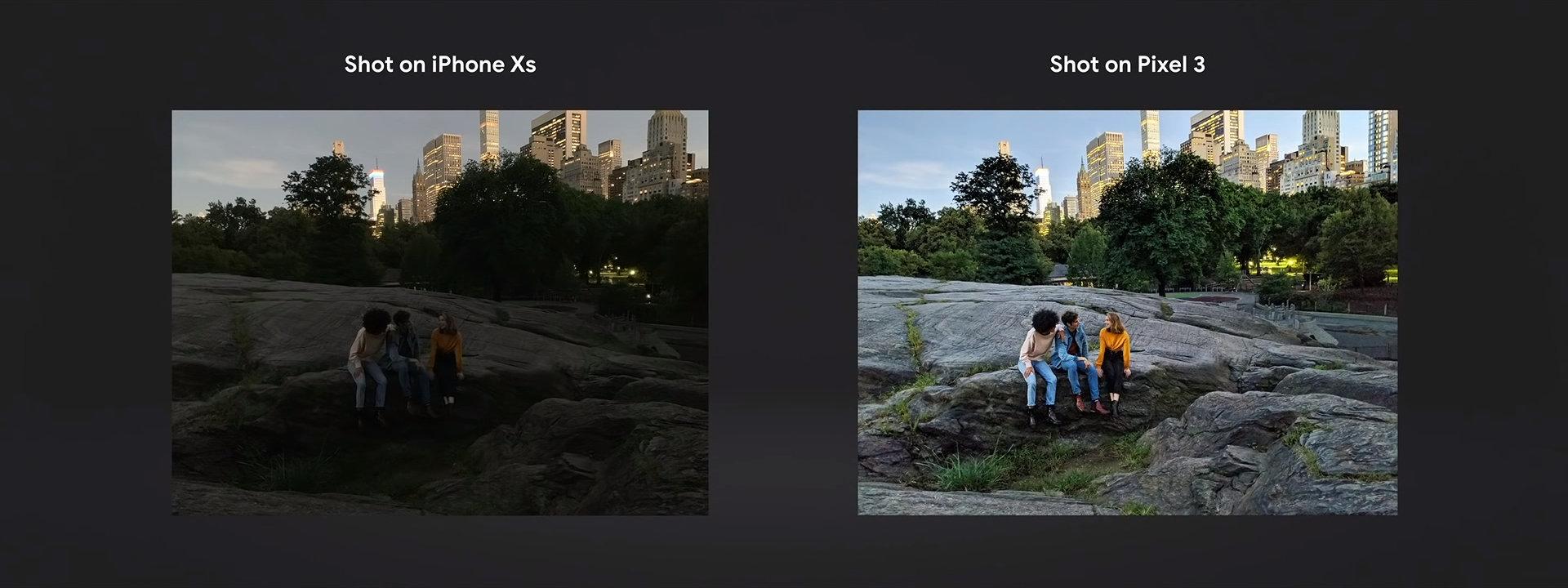 iPhone Xs im Vergleich mit dem Pixel 3 mit aktivem Night Sight