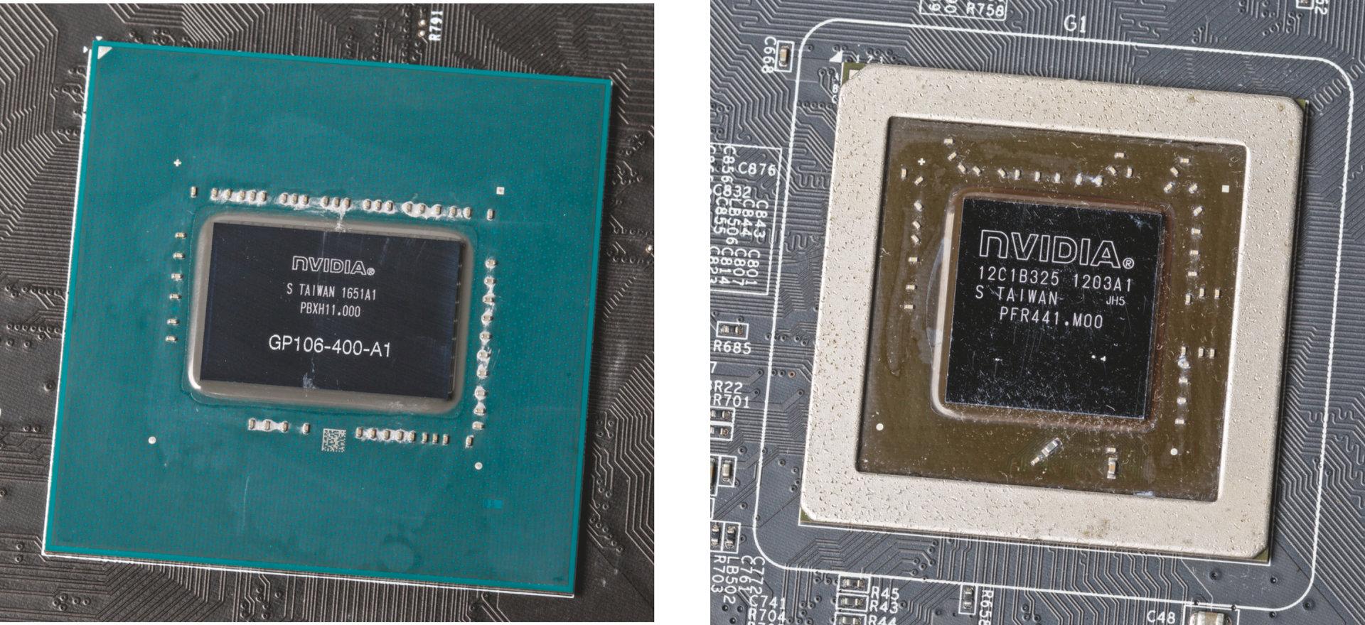 Die Beschriftung der verwendeten Fermi-GPU (rechts) wurde abgeschliffen