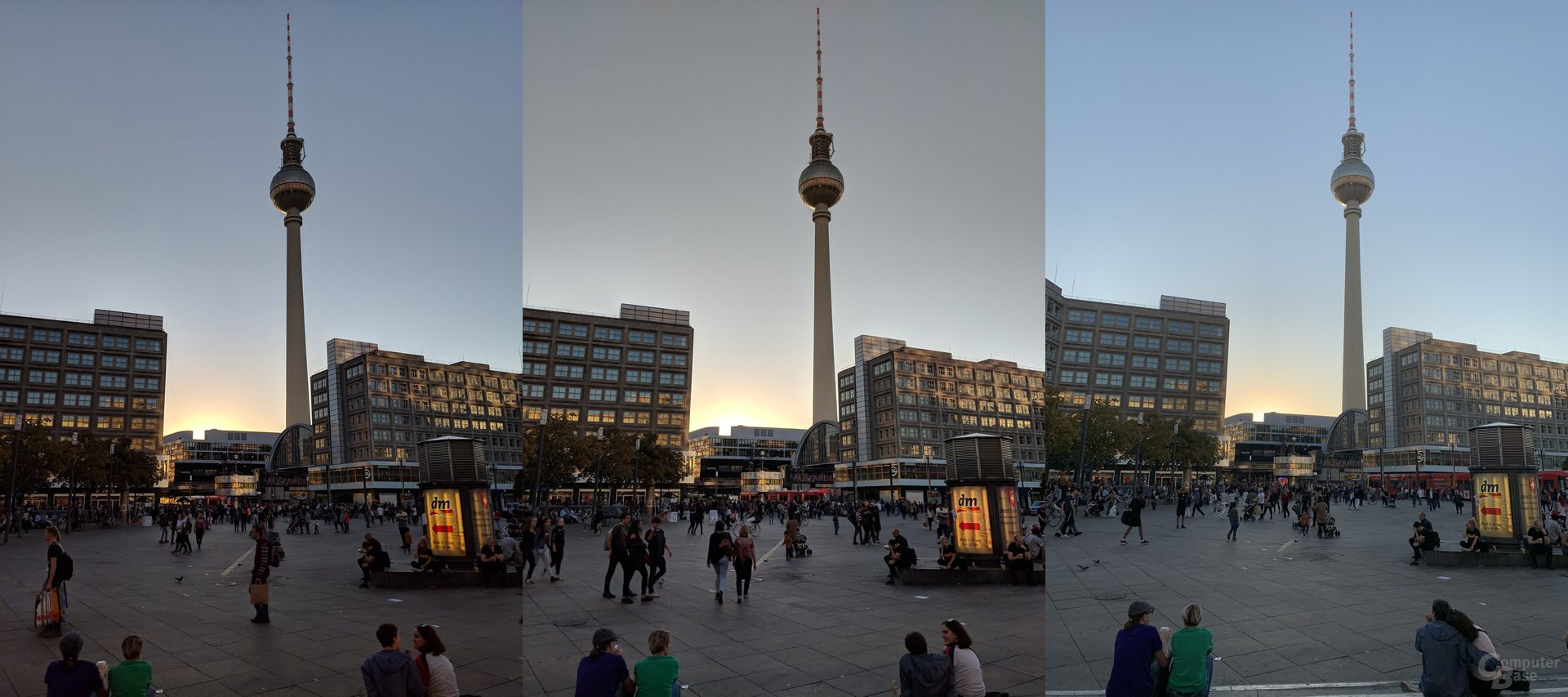 Pixel 3 XL, Pixel 2, iPhone Xs Max (v.l.n.r.)