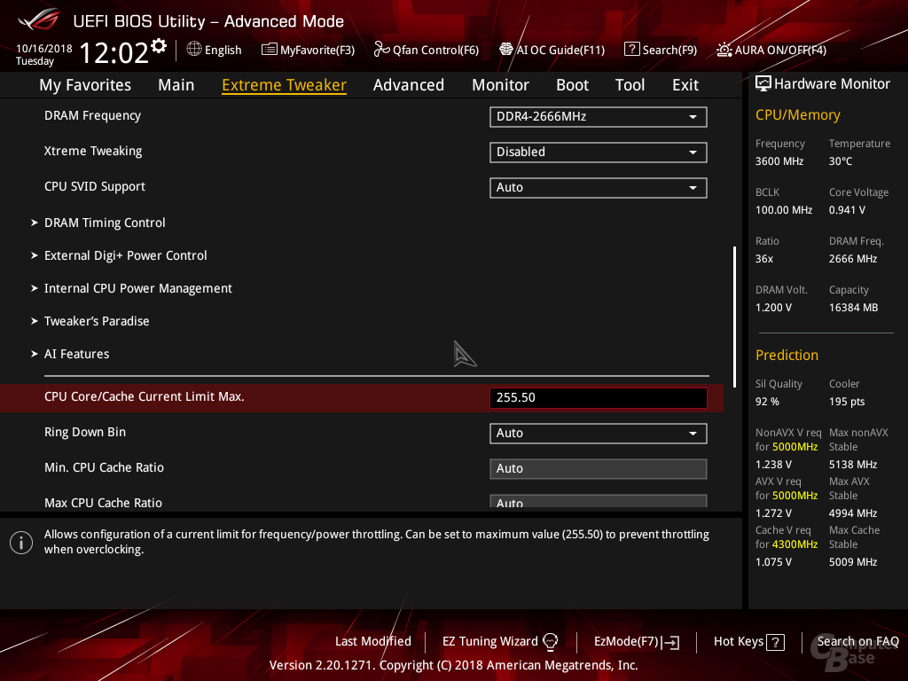 Anhebung des Power Limits im BIOS