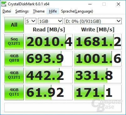 Die Crucial P1 1.000 GB im CrystalDiskMark