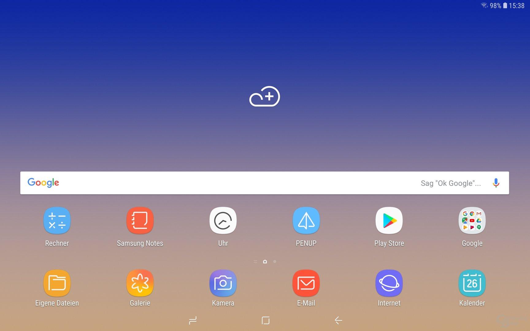 Homescreen beim Samsung Galaxy Tab S4