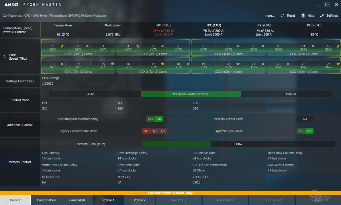 AMD Ryzen Threadripper 2970WX mit PBO