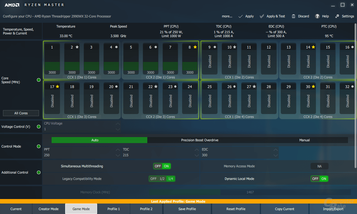GM und DLM beim 2990WX aktiv