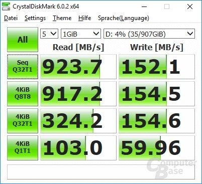 CrystalDiskMark: Leistung der HDD hinter Optane Memory