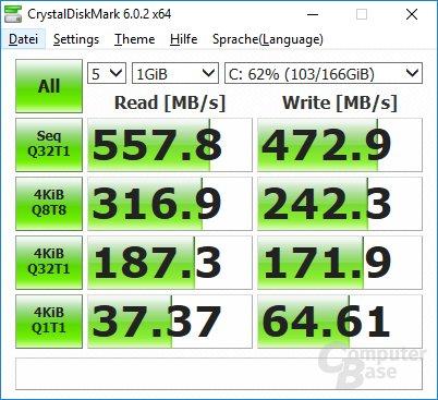 CrystalDiskMark: Leistung der SSD
