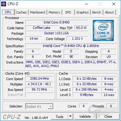 Details zur eingesetzten CPU