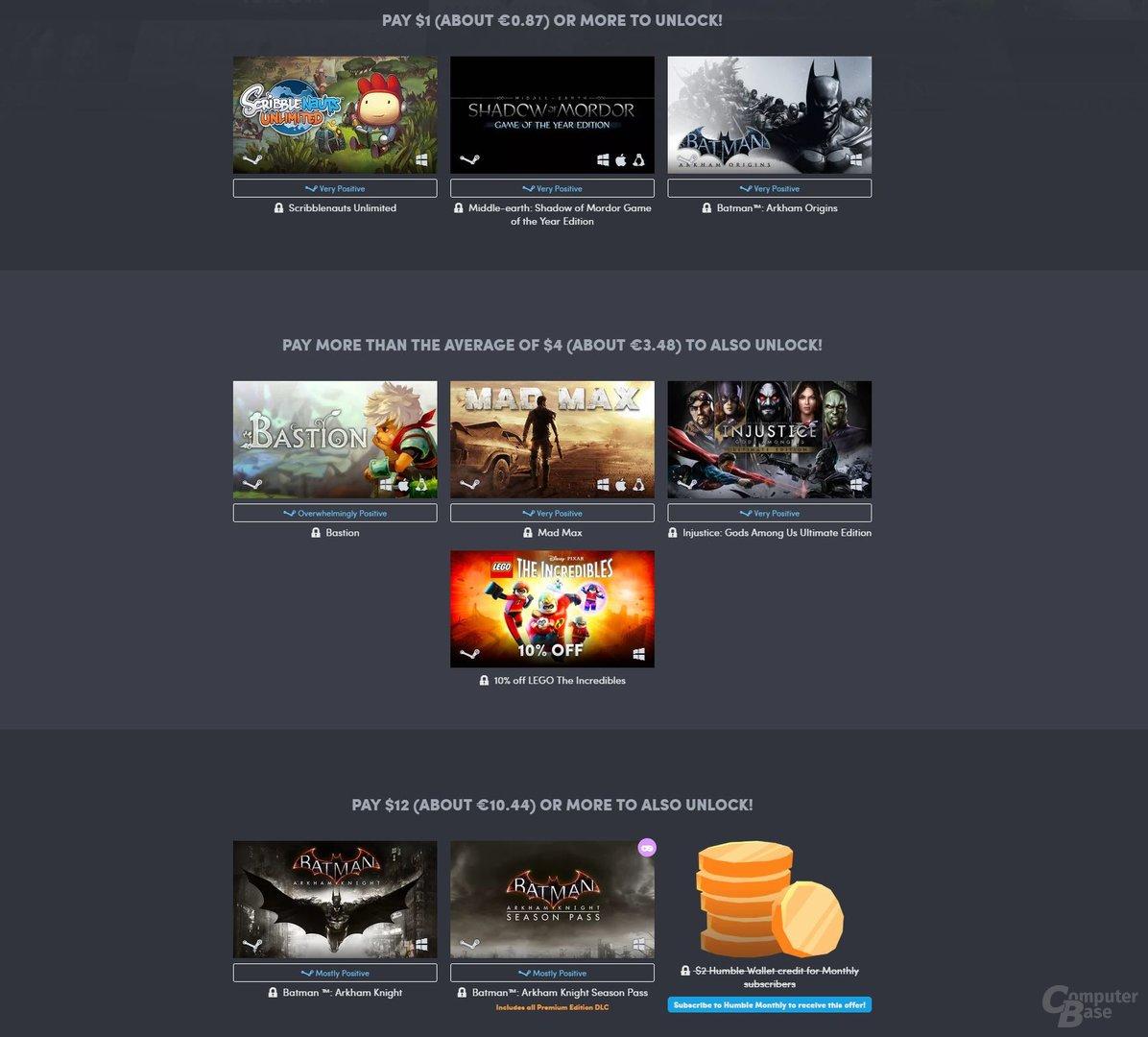 Das aktuelle Bundle enthält viele spaßige Spiele