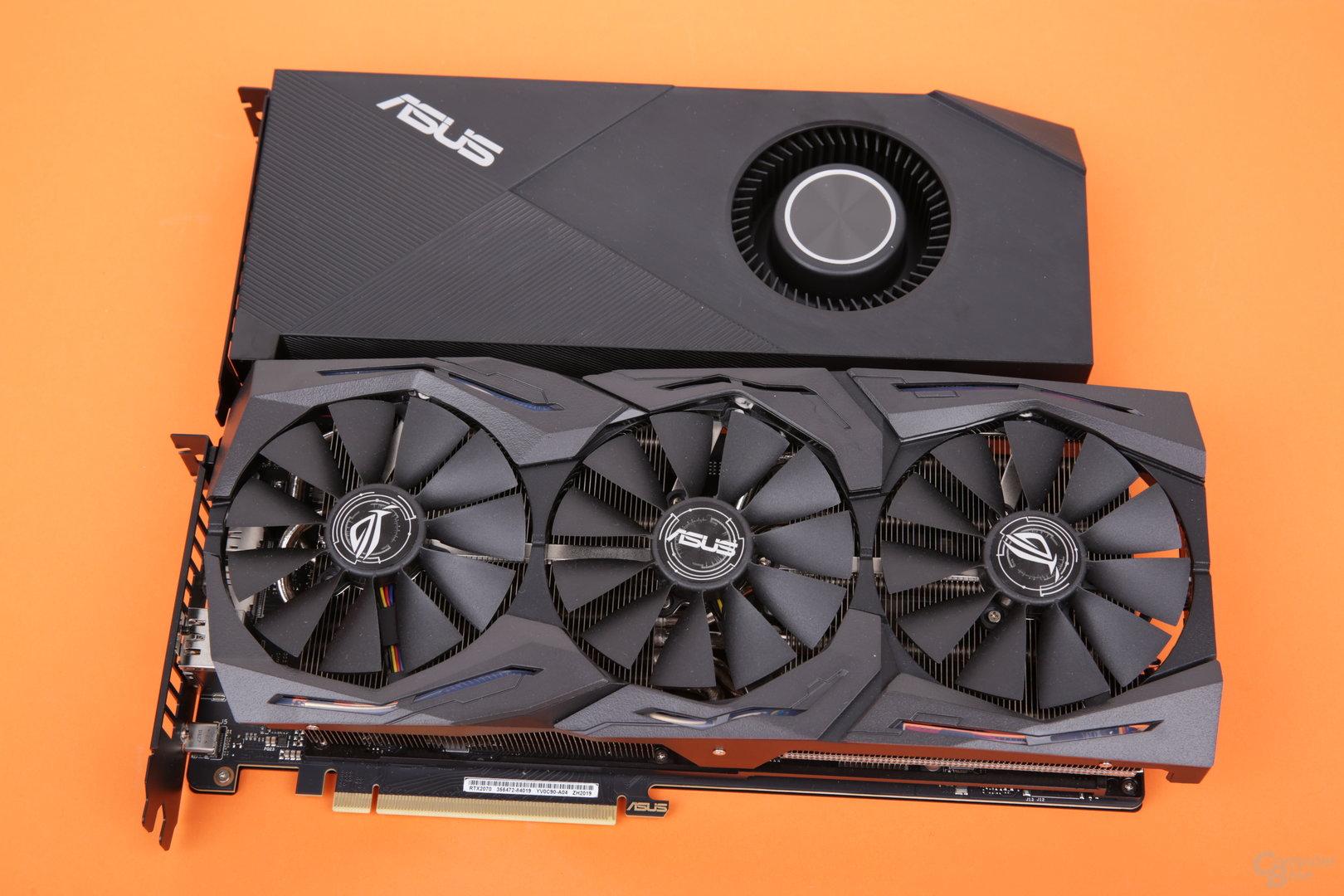 Asus GeForce RTX 2070 Strix OC (unten) vs. Asus GeForce RTX 2070 Turbo (oben)