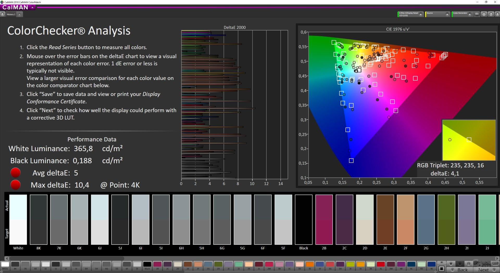 ColorMatch-Testergebnis des LG 32GK850F mit sRGB und FreeSync Extended