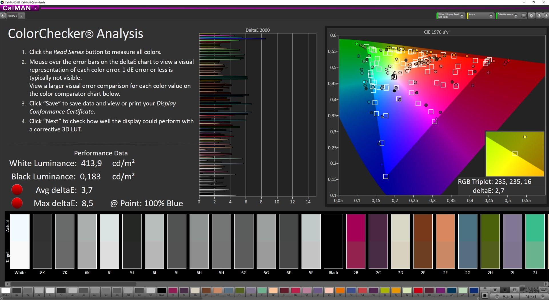ColorMatch-Testergebnis des LG 32GK850F mit Gamer 1 und Gamma Mode 3