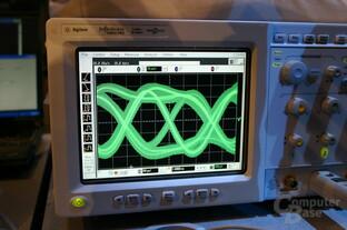 Das Oszilloskop zeigt die Signalqualität eines mit DDR2-Chips bestückten FB-DIMM-Moduls