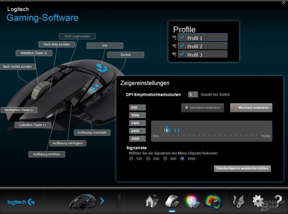 Sensor und Tasten lassen sich in drei Profilen konfigurieren