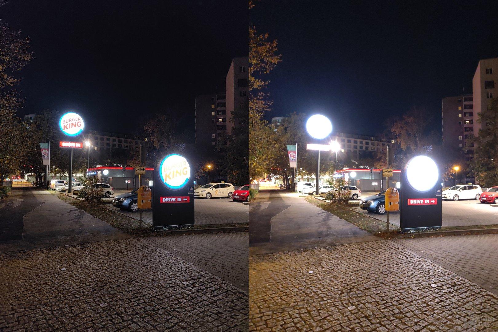 OnePlus 6T ohne (l.) und mit Nachtmodus (r.)