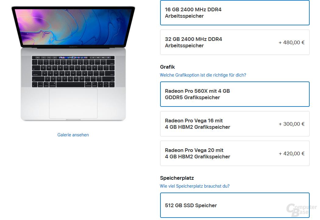 Konfiguration eines MacBook Pro 15 Zoll