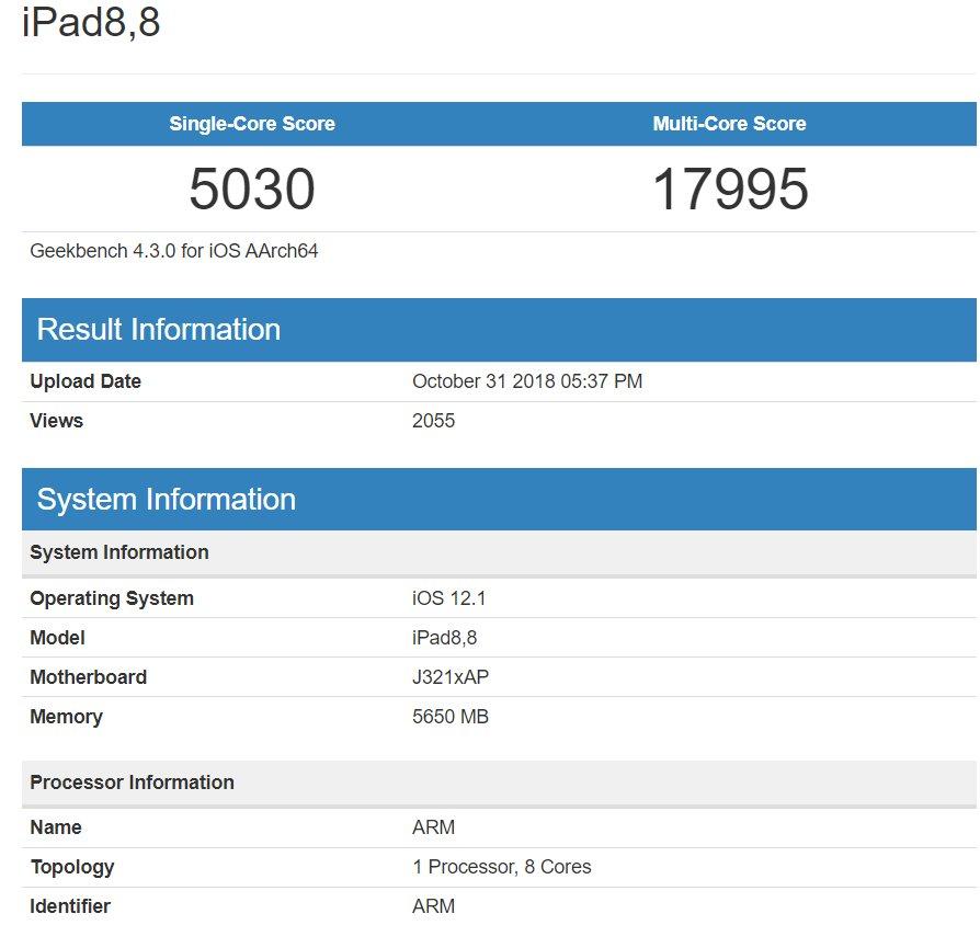 Hinter diesem Eintrag dürfte das iPad Pro mit A12X-Chip stecken