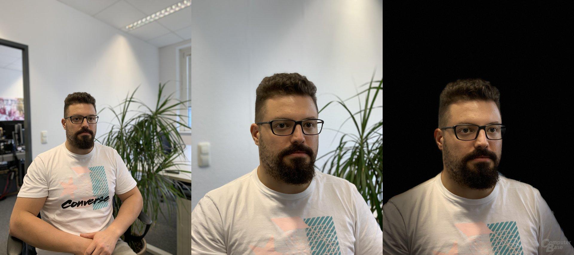 Porträtmdodus iPhone Xr (l.) und iPhone Xs (m.) sowie Bühnenlicht Mono (r.)