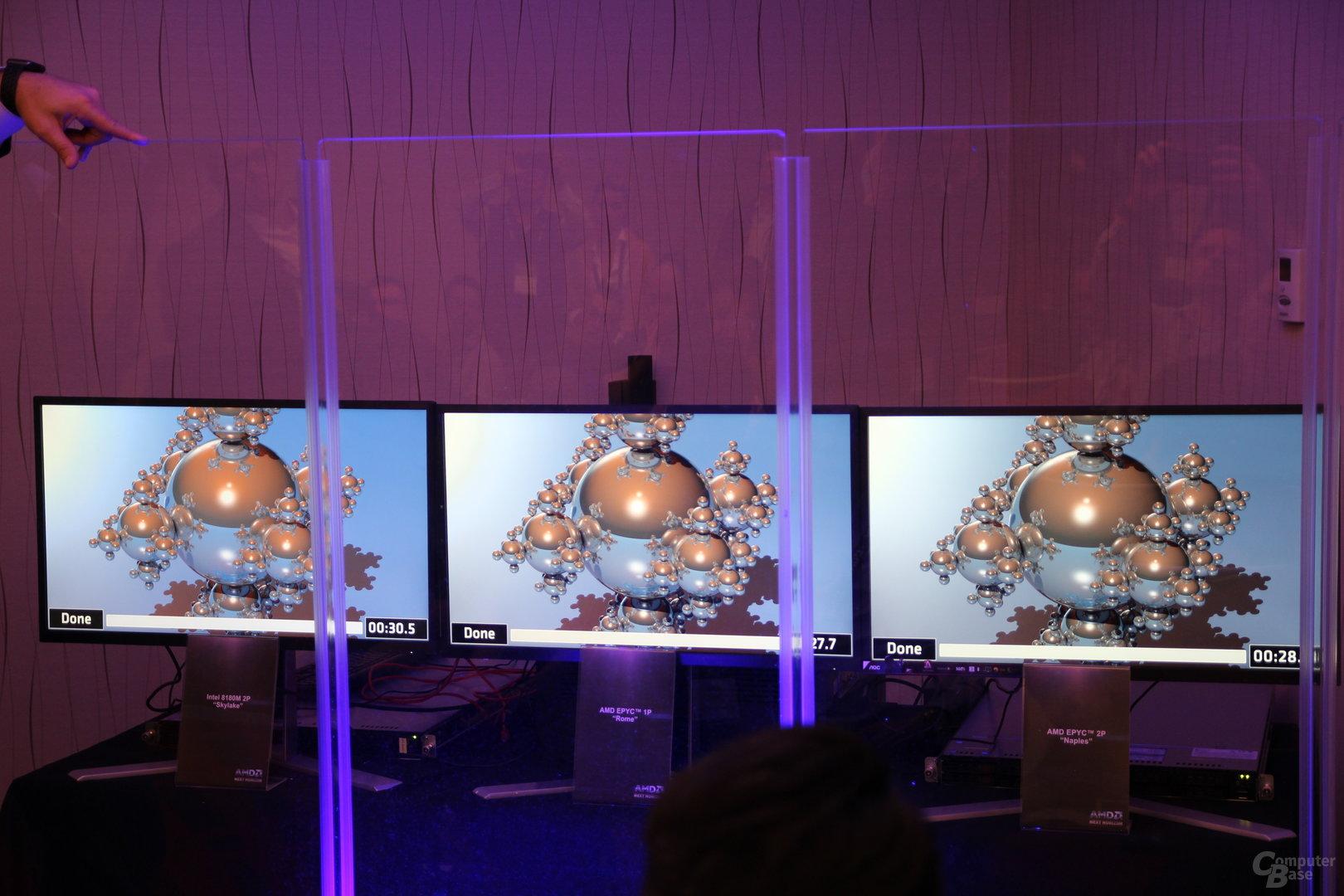 AMD Rome (Mitte) schlägt zwei Naples (rechts) und zwei Skylake-SP (links)