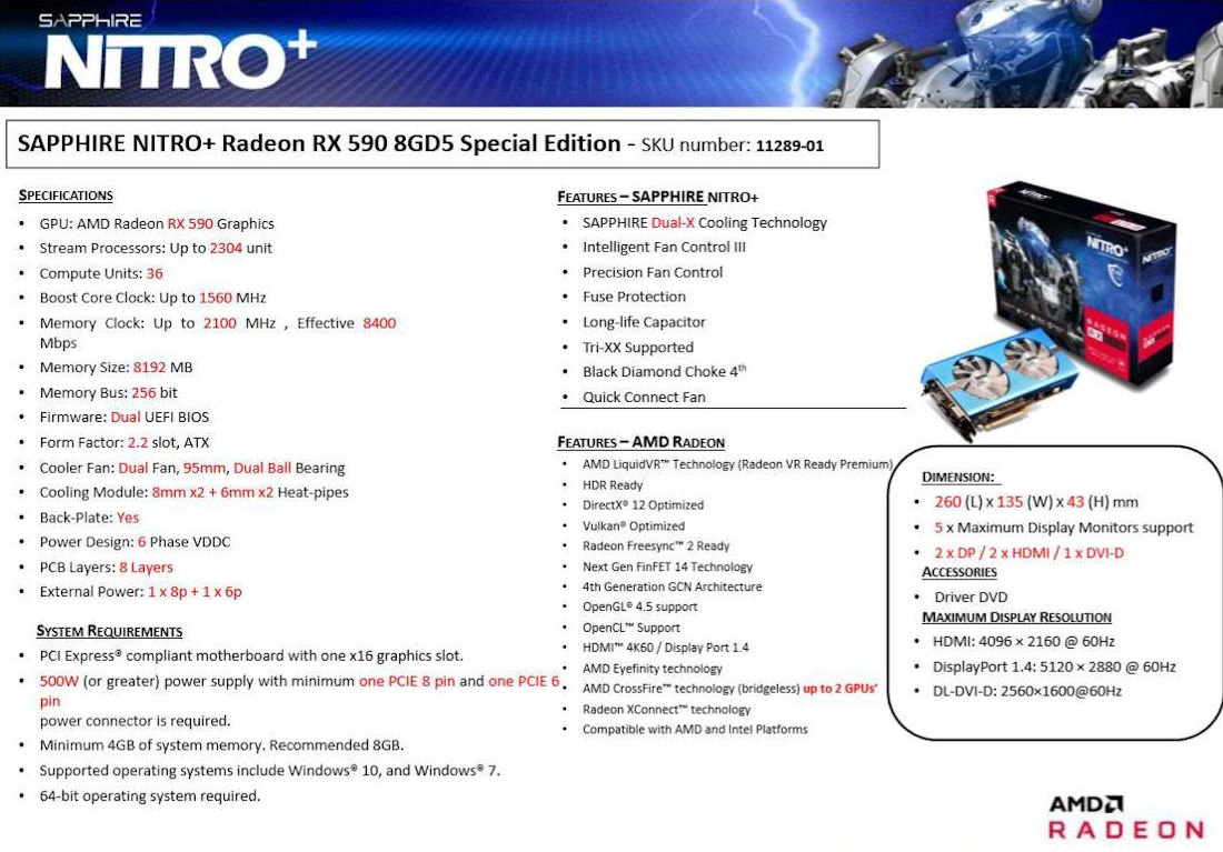 Sapphire  RX 590 Nitro+ Special Edition mit 1.560 MHz Boost