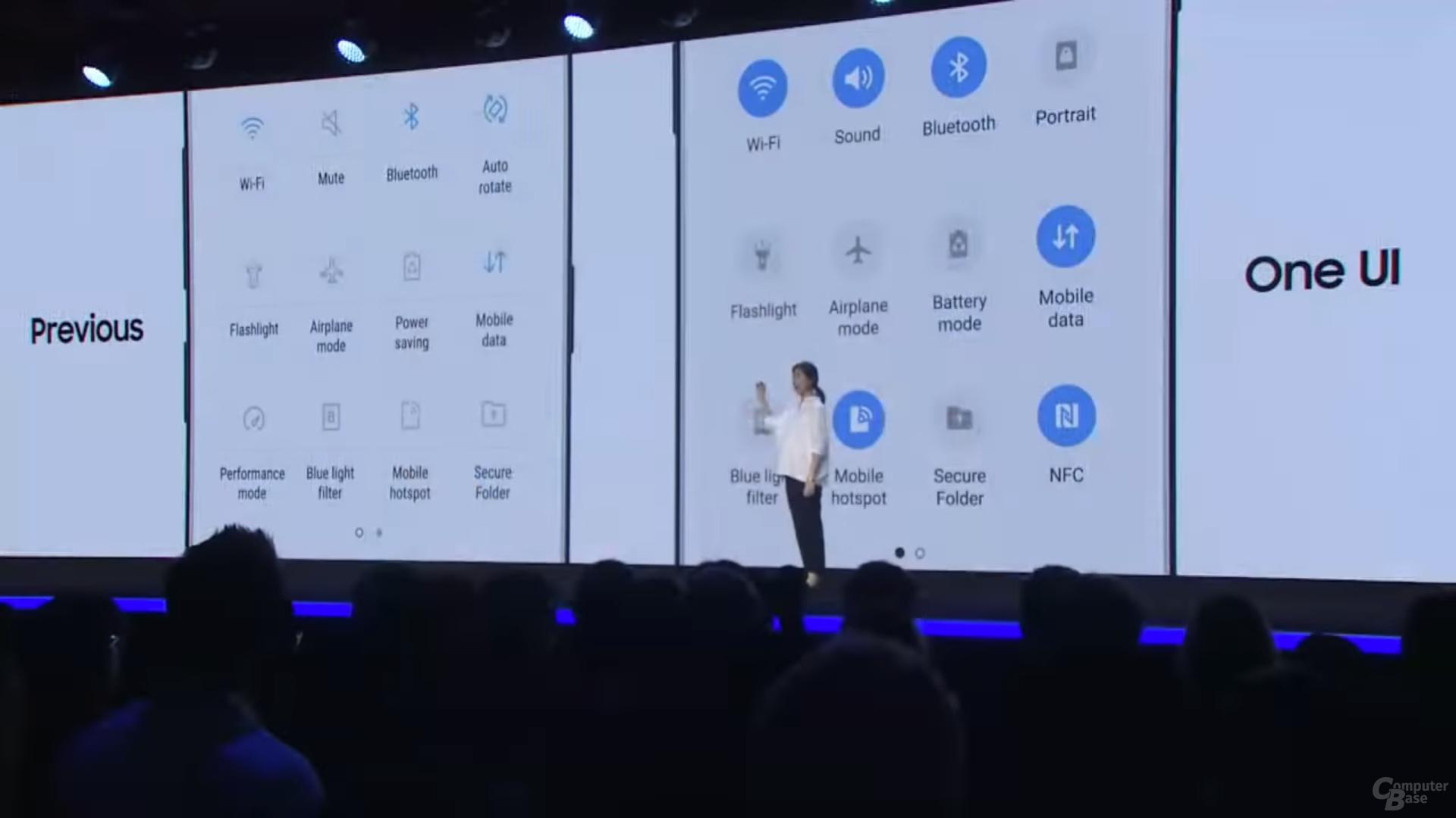 One UI: Neu gestaltete Schnelleinstellungen