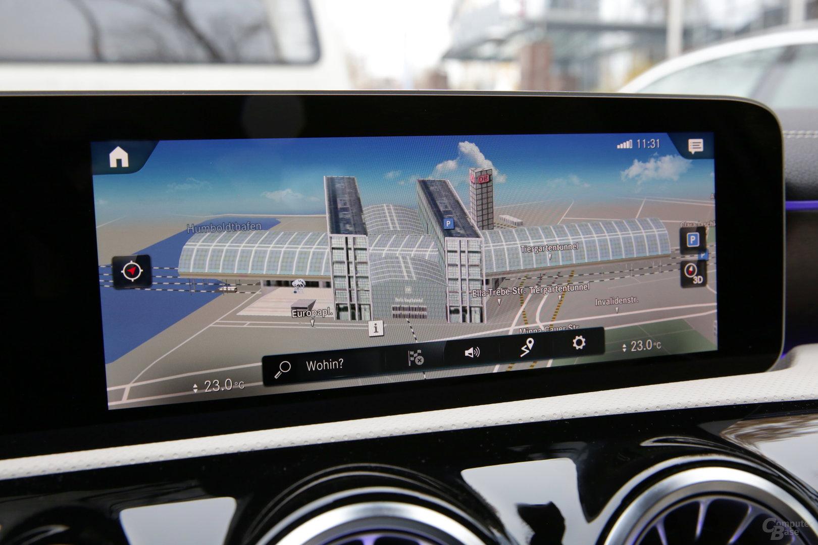Navigation auf hoher Zoomstufe mit 3D-Gebäuden